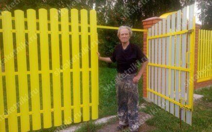 Забор из штакетника Полукруглого желтого в Москве