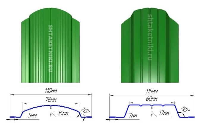 Полукруглый и П-образный штакетник для забора