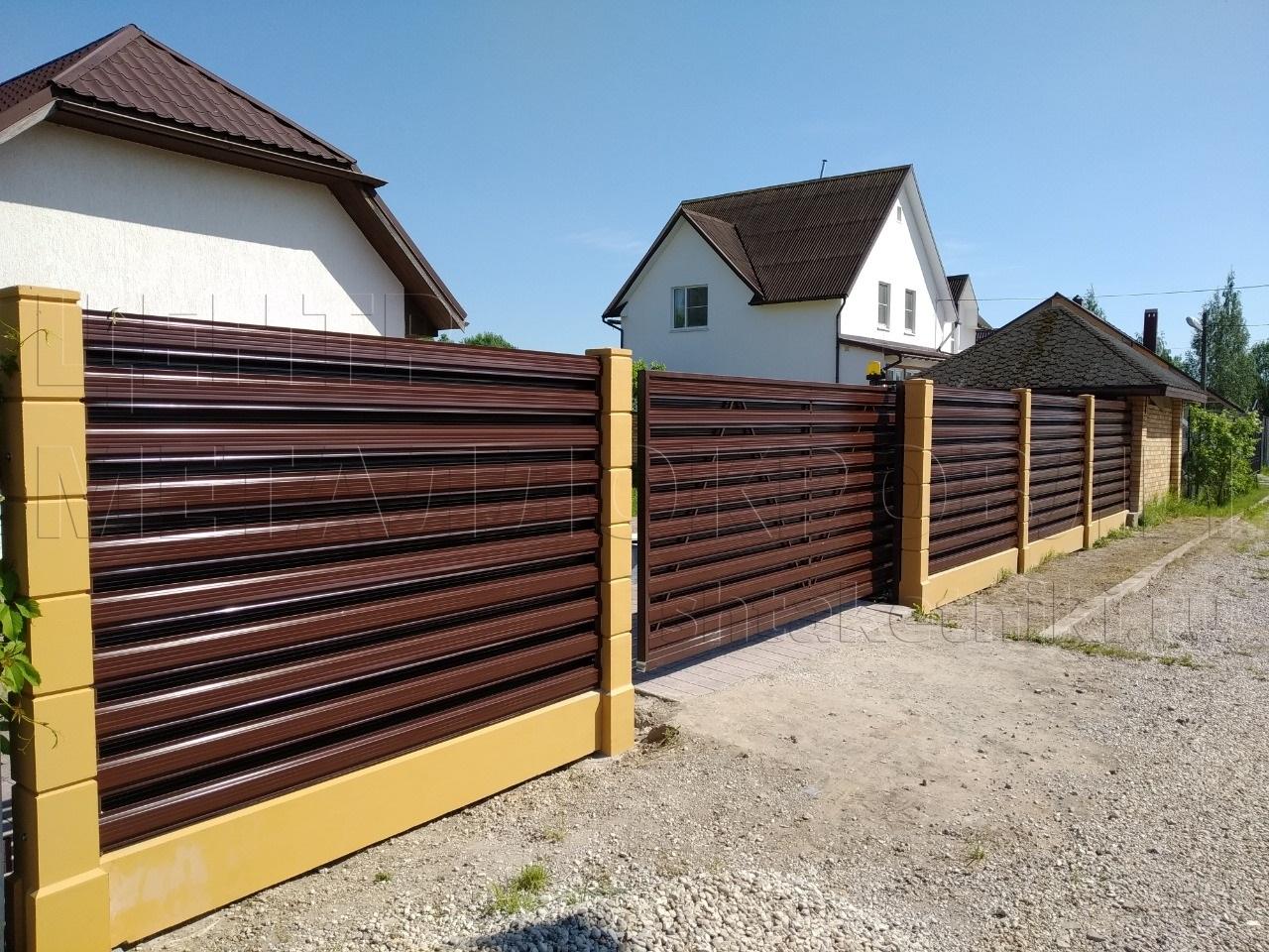 Горизонтальный забор из евроштакетника от Центра Металлокровли