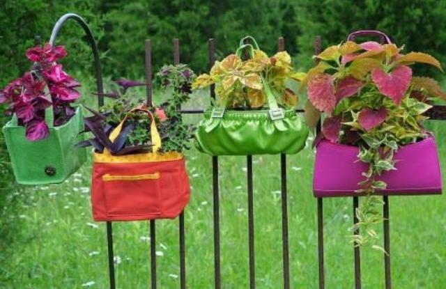 Горшки для цветов из сумок