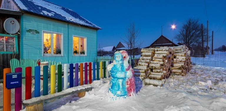 Новогодний участок с забором от Центра Металлокровли