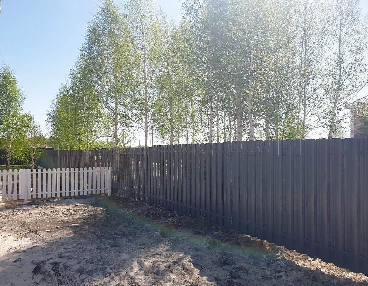 Забор-жалюзи шахматка фигурный евроштакетник Серый графит - 5