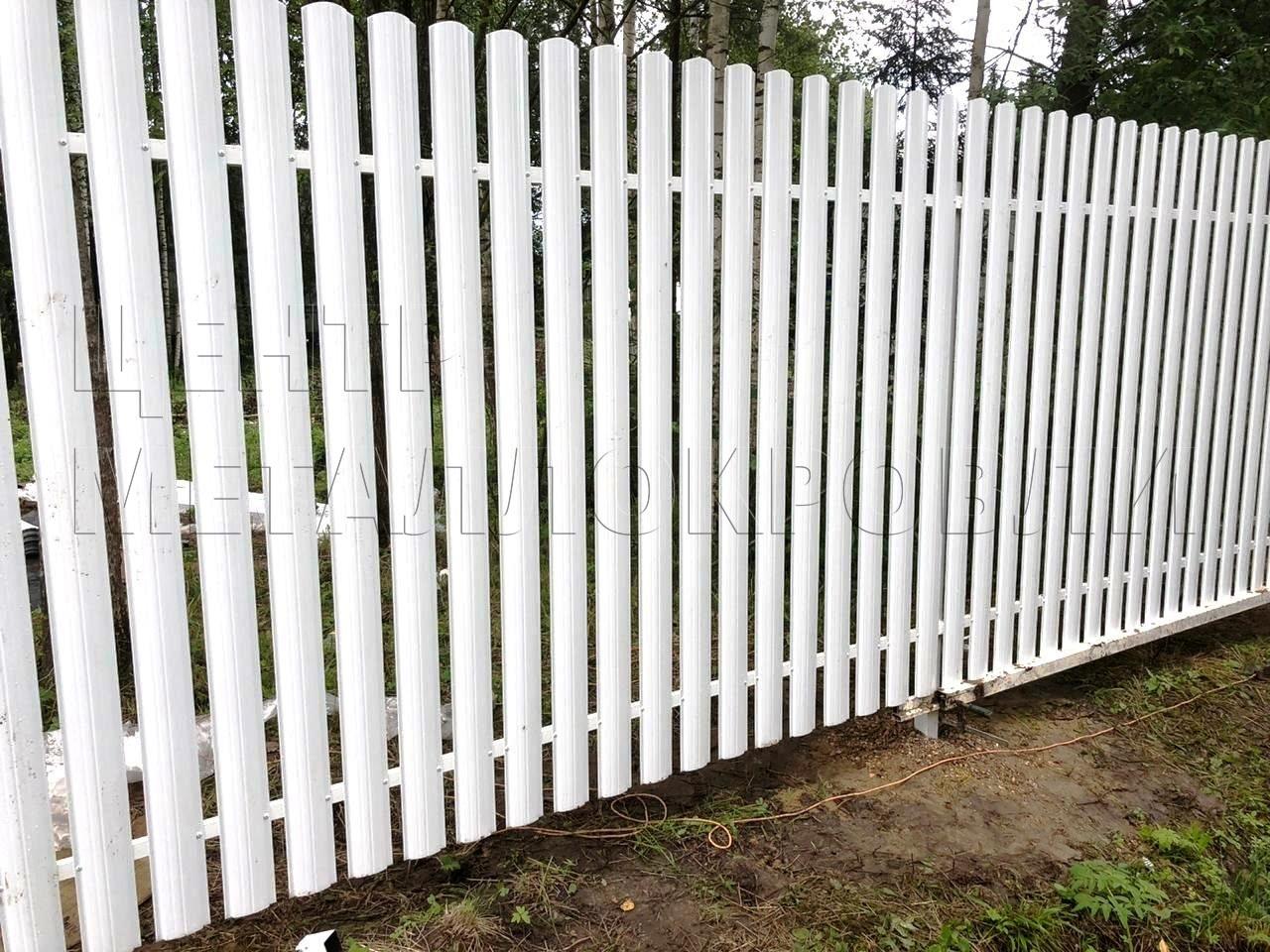 Евроштакетник забор белый полукруглый профнастил - 1