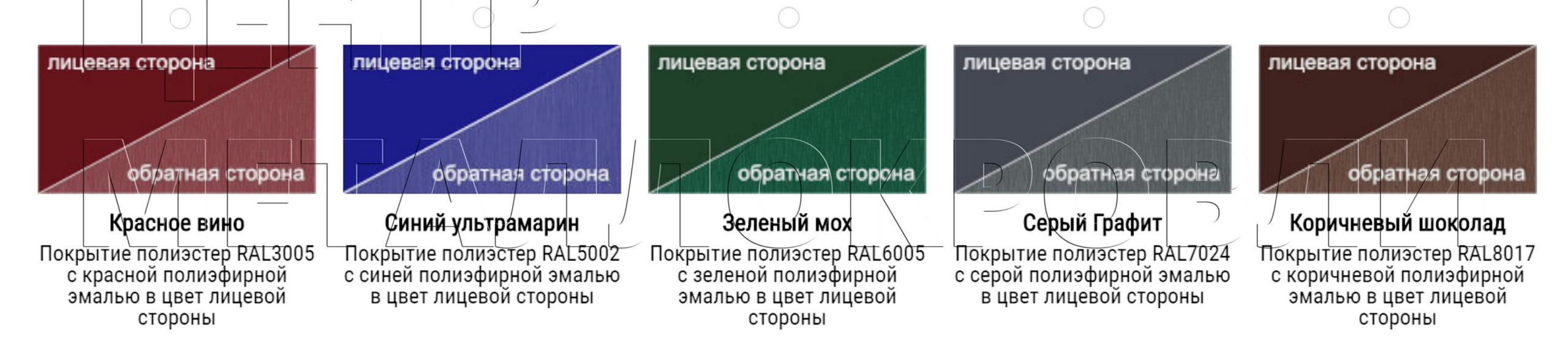 Евроштакетник покрытие одностороннее двустороннее полиэфирная эмаль грунт в цвет - 13